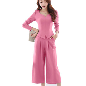 Fashion 2 Pieces Set Trouser Suit Women Long Sleeve Autumn Spring Elegant Office Pant Suits Plus Size Uniform Work Style