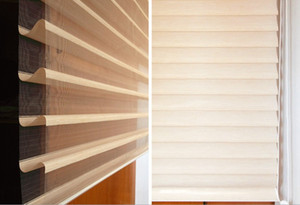 Custom Cut to Size Shangri-la Roller Blinds Korea Style Cordless Zebra Roller Shades Dual Layer Combi Window Blind Striped Dove Privacy on Sale
