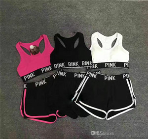 wholesale-Letter Tracksuit Lady Summer Sport Wear Running Fitness Bra Shorts Gym Top Vest Pants Set Women Yoga Suit 2pcs Underwears 6 Colors on Sale