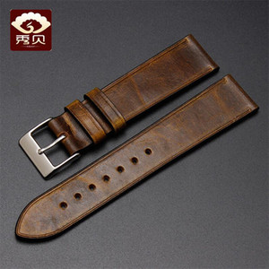 Wholesale New Hand made Genuine Leather Watchband Pin Clasp Thin Soft Brown Vintage Pull up Leather Strap mm mm for Brands Watch Stock