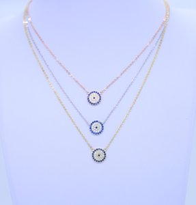 Wholesale 2018 new fashion women gift party jewelry silver chain sterling silver evil eye sideway cross necklace paved BLUE zirconia