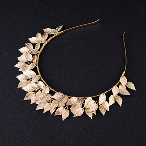 Idealway Women Lovely Hair Accessories Gold Color Leaf Tiara Crown Hairbands Wedding Headdress Decoration Bridal Girl Jewelry S918