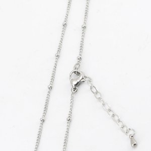 Wholesale 316L stainless steel inch welding jumpring ball station chain necklace for living glass locket amp Perfume Diffuser Locket