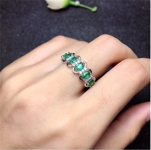 Emerald ring Real and natural Emerald 925 sterling silver Fine women jewelry 3*4mm 6pcs S923 on Sale