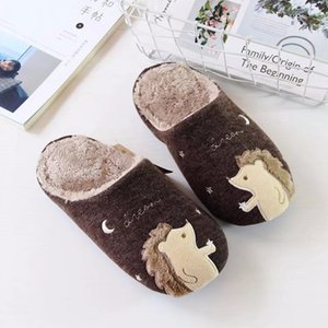 Wholesale autumn and winter cartoon warm plush slippers men and women home home indoor anti skid flooring cotton slippers