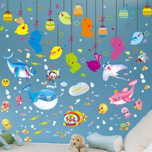 Wholesale SHIJUEHEZI Underwater World Marine Fish Wall Stickers Animals Drop Ornament Wall Decals for Kids Rooms Kindergarten Decoration