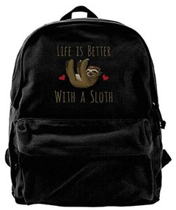 Life Is Better With A Sloth Unisex Vintage Canvas Backpack Travel Rucksack Laptop Bag Daypack Black