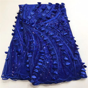 Wholesale Madison High Quality Wedding Party Dress Lace Fabric Coral BLUE Sequins French Lace Fabric Applique African Textile Lace Fabric