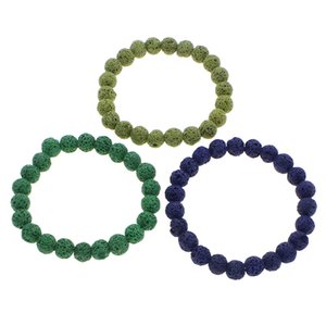 Wholesale YYW Natural Lava Stone Bracelet inch cm mm Round Ball Beaded Strand Colors Colorful Elastic Wristband Bracelets Women Men