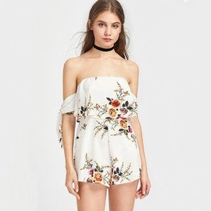Wholesale Flower Printed Sexy Jumpsuits Off the Shoulder Backless with Pocket Strapless Elegant Short Women Casual Clothes Cheap In Stock Shorts