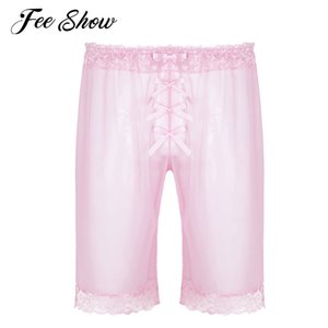 Fashionable Mens Sissy Fashion Lingerie See Through Mesh Short Pants Sheer Soft Lace Cute Bowknot Lightweight Loose Shorts Pants on Sale