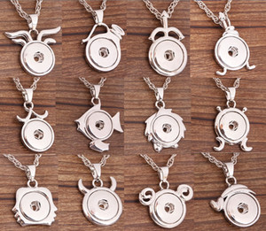 Wholesale 12 Zodiac Pendant Metal Ginger mm Snap Buttons Socket Constellations Necklace Men Women Noosa Chunks Jewelry Mix