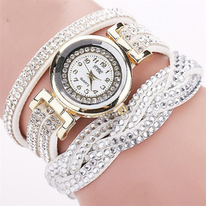 2018 New Fashion Casual Quartz Women Rhinestone Watch Braided Leather Bracelet Watch Gift Relogio Feminino Gift 1739 on Sale