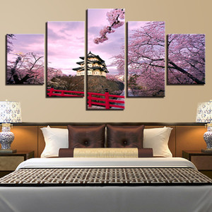 Wholesale canvas art oil painting blossom resale online - Canvas Paintings Wall Art HD Prints Ancient Building Pictures Framework Pieces Cherry Blossoms Castle House Posters Home Decor