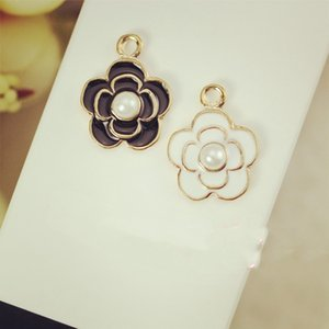 Black Enamel Camellia Pendant Charms Prong White Pearl Fit For DIY Hair Accessories Bracelet Necklace Jewelry Accessories