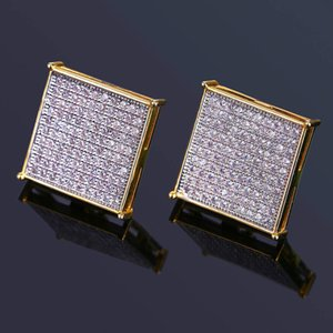 Wholesale Men s Luxury Zircon Fashion Earrings Ear Studs High Quality Gold Plated Square Earring Hip Hop Men Women Cool Gift Earring Charms Jewelry