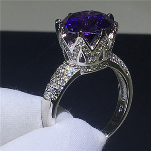 Wholesale purple crown rings resale online - Luxury Crown ring Round cut ct purple A Cz Stone Sterling silver Engagement wedding band ring for women Finger Jewelry