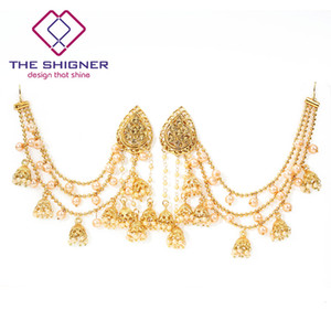 Wholesale Bahubali Collection GoldColor with Pearls Kundan Jhumka Earrings With Hair Chain Indian Bollywood Designer Jewelry