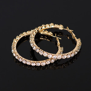 Wholesale jewelry sliver resale online - YFJEWE New hot sale Crystal Rhinestone Earrings Women Gold Sliver Hoop Earrings Fashion Jewelry Earrings For Women E029