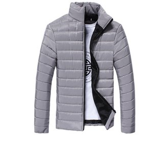 Wholesale Mens Spring Autumn Down Jackets Thin Slim Fit Coats Cotton padded Solid Color Long Sleeved Jacket Outerwear