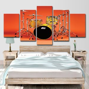 Wholesale Modern Home Decor Wall Art Pictures HD Prints Music Posters Pieces Canvas Cool Rock Instruments Drum Kit Painting