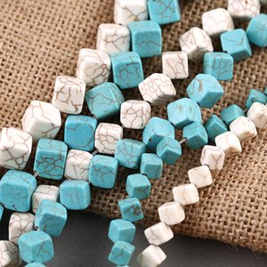 6 8 10mm White Blue Turquoises Loose Beads Cube Square Opposite Angles Hole Stone Beads For DIY Jewelry Making Accessories on Sale