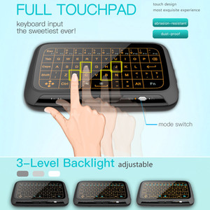 Wholesale H18 Backlit Wireless Mini Keyboard H18 Ghz Fly Air Mouse Full Screen Touchpad Combo Remote Control Backlight for PC Android TV Box