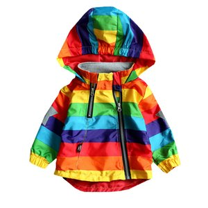 Wholesale LILIGIRL Boys Girls Rainbow Coat Hooded Sun Water Proof Children's Jacket for Spring Autumn Kids Clothes Clothing Outwear Y1891409