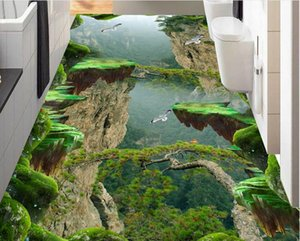 Wholesale Painting PVC wallpaper Forest Valley Mountain peak stereo bathroom kitchen 3D floor stickers 3d wallpaper walls