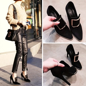 Free Shipping 2018 New Spring Special High Thin Heels all-match Simple Shoes Professional Black with Metal Ring Suede Shoes.