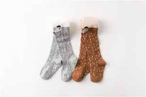 Wholesale Childres Socks Korean elastic fibers Fox Baby Pantyhose 100%cotton Siamese Kds socks Tights Baby Gir kids socks for autumn