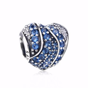 Wholesale New Authentic S925 Sterling Silver Bead Full Pave Blue Clear Crystal Love Hearts Charm Fit Pandora Bracelets DIY Charms Jewelry