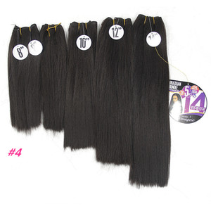 Wholesale short straight hair extensions resale online - short synthetic hair bundles Yaki Straight Hair Weave Bundles dark brown Kinky Straight inch Black Synthetic Sew In Hair Extensions