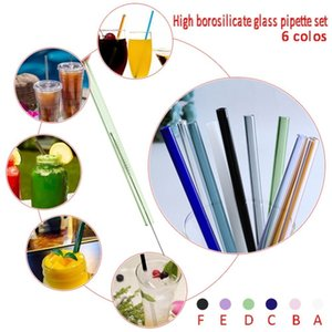 Wholesale Handmade Lip Protecting Glass Drinking Straw Tourism Juice Drink Beverage Heat Resistant Straw Set With Brush Protective Case