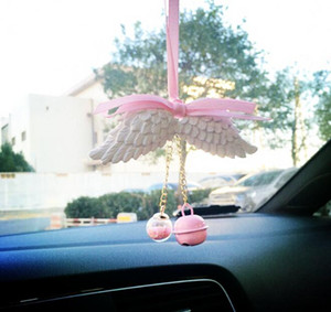 Wholesale Car Air Aroma Diffuser Delicate Ribbon Angel Wings Perfume Rear View Mirror Aroma Car Interior Decoration Hanging Pendant Ornaments