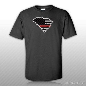 Wholesale Distressed Thin Red Line South Carolina State Shaped Subdued Flag T Shirt Shirt
