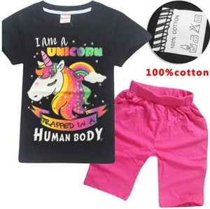 2018 New Kids Fashion Boys Summer Kids gril Pattern Girls Clothing Set t-shit + Shorts 100% Cotton T-Shirt Casual home suit on Sale
