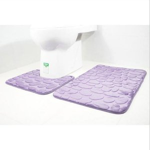 2pcs set Bath Mats Bathroom Carpet 3D Print Pebbles Toilet Carpet Flannel Anti-slip Absorbent Floor Mat Home Decor