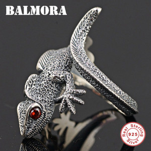 Wholesale BALMORA Authentic Sterling Silver Lizard Open Rings for Men Punk Personalized Ring Red Eyes Animal Jewelry Anillos SY21897 D18111405
