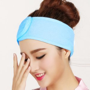 Wholesale Cheap Styling Accessories Spa Facial Headband Make Up Wrap Head Terry Cloth Headband Stretch Towel with Magic Tape Random Color