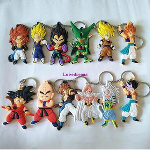 40 Pcs lot Anime Dragon Ball Figure Keychain Soft Rubber Mini Figures Key Chain Hold Pendants Women Men Fashion Jewelry Drop Shipping
