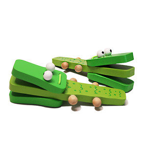 Wholesale wood castanets resale online - Wooden Cartoon Orff Percussion Instruments Green Crocodile Handle castanets knock musical toy for Children Gift Baby Wood Music Toys
