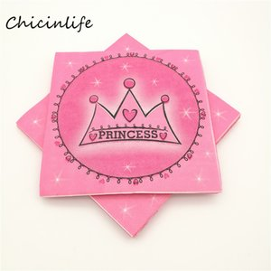 Wholesale Chicinlife Prince Princess Crown Design Paper Napkin st Birthday Party Supplies Tissues Napkin Baby Shower Decoration