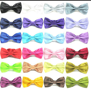 Wholesale bow men for sale - Group buy 20PCS MIX COLORS Men STAIN Solid COLORS Bow Ties Butterfly Gentleman Wedding Party Adjustable Wedding PLAIN Prom boe tie