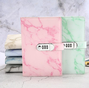 Leather business notebooks creative stationery notepds with lock portable travel journal fashion girl diary code book kids birthday gift
