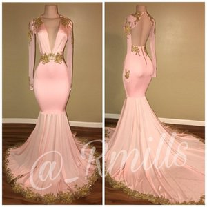 Wholesale 2020 Modest Sexy Open Back Pink Prom Dresses Mermaid Deep V Neck Long Sleeves Gold Appliques Sweep Train Evening Gowns BA7606