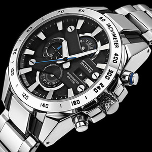 Wholesale Multi function calendar Luxurious Brand sports Quartz Watch Large dial Stainless Steel Men Watches Waterproof unique design wristwatch