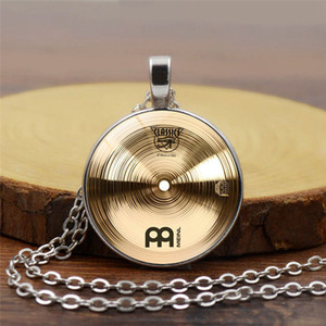 2018 fashion vintage alloy Glass round Cabochon Necklace pendant Necklace Drummer cymbals Women Jewelry Christmas gift