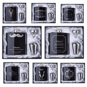 2017 discount Groomsman gift Personalized Engraved 6oz Hip Flask Stainless Steel With White & Black Box Gift Wedding Favors