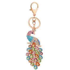 Wholesale Exquisite Colorful Rhinestone Chinese Style Alloy Peacock Pendant Keychains Key Ring Holder Animal Keyrings Charm Jewelry For Women